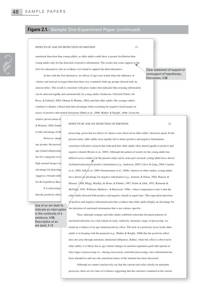 Experimental psychology paper format