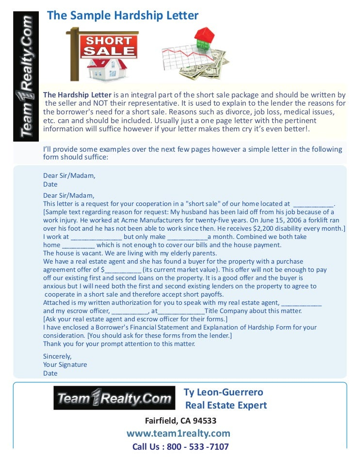 Sample Hardship Letter for a Short Sale Ty Leon Guerrero of Team1Real…