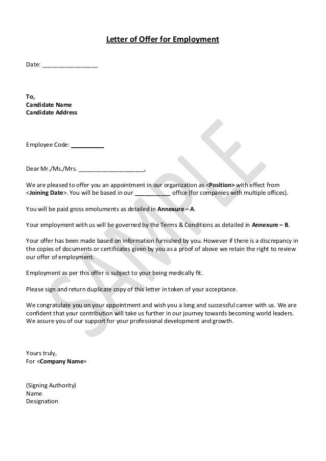 Letter Of Offer For Employment Date: