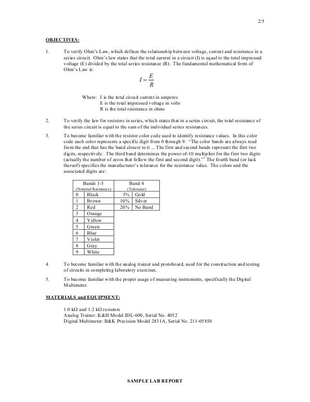 Lab Report Sample Lab Report On Copper Cycle The First Page Of A