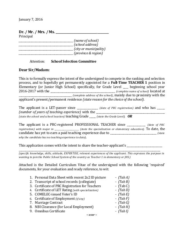 Sample letterofapplicationteacher1inelemjhs – Sample Letter of Intent for a Job
