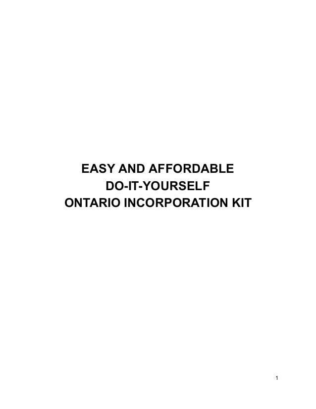 Sample ontario self incorporation kit easy and affordable do it yourself ontario incorporation kit 1 2 solutioingenieria Choice Image