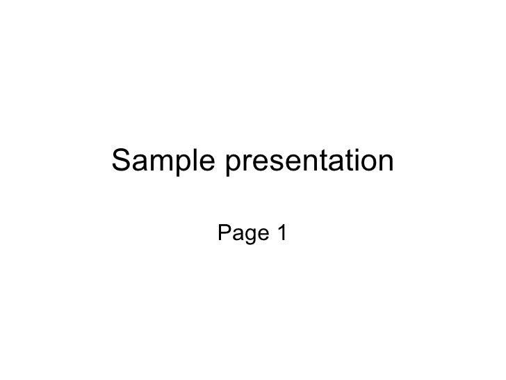 Sample presentation Page 1
