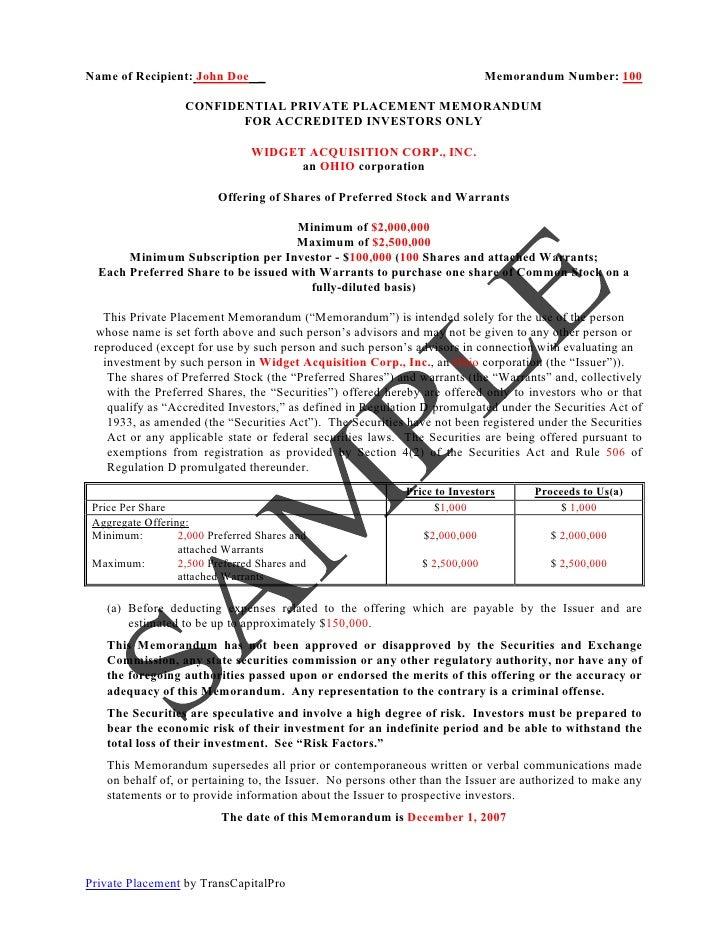 Private Placement Memorandum Template Images Template