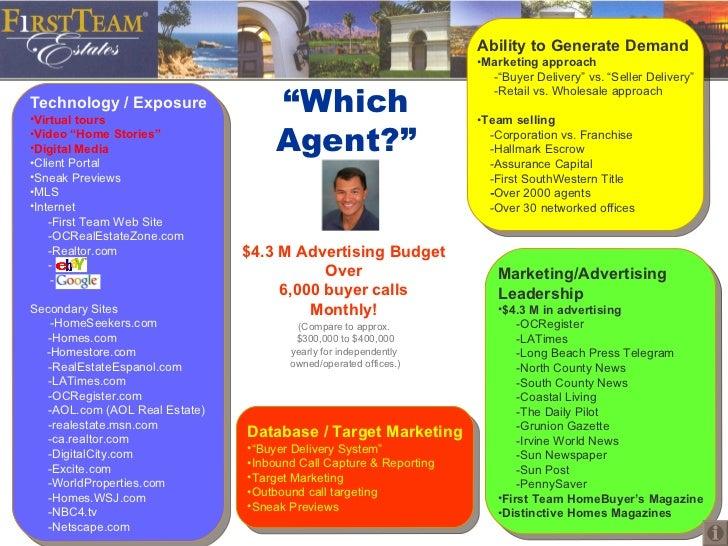 """""""Which Agent?"""" <ul><li>Ability to Generate Demand </li></ul><ul><li>Marketing approach   -""""Buyer Delivery"""" vs. """"Seller Del..."""