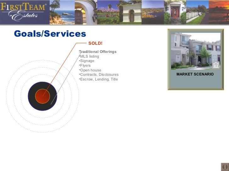 Goals/Services MARKET SCENARIO <ul><li>Traditional Offerings </li></ul><ul><li>MLS listing </li></ul><ul><li>Signage </li>...
