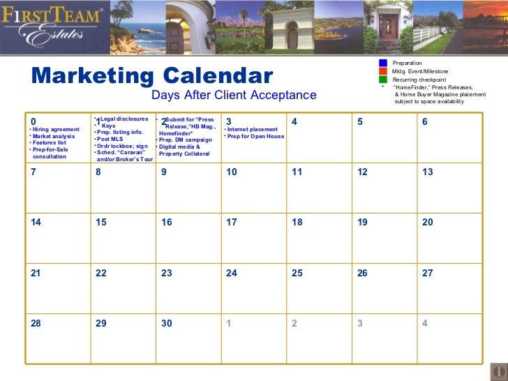 Marketing Calendar Days After Client Acceptance <ul><li>Hiring agreement </li></ul><ul><li>Market analysis </li></ul><ul><...