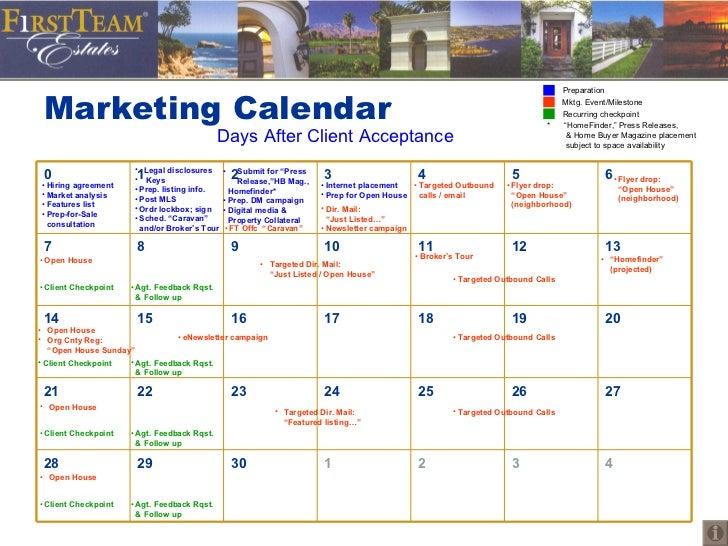 Marketing Calendar Days After Client