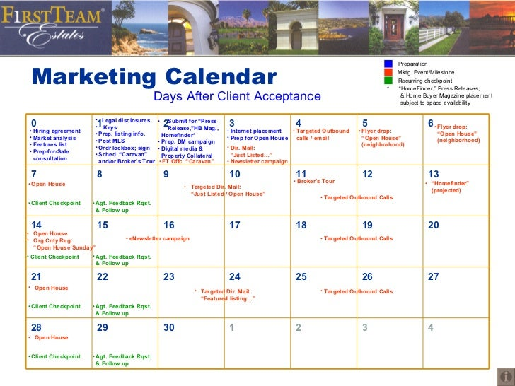 Marketing Calendar Days After Client - Sample marketing calendar