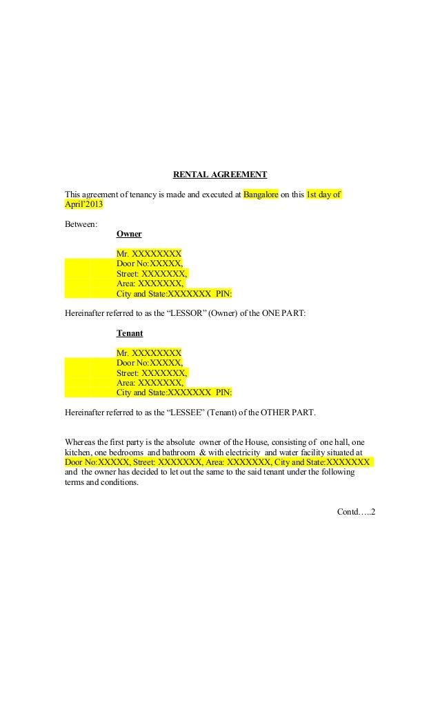 sample of rental agreements