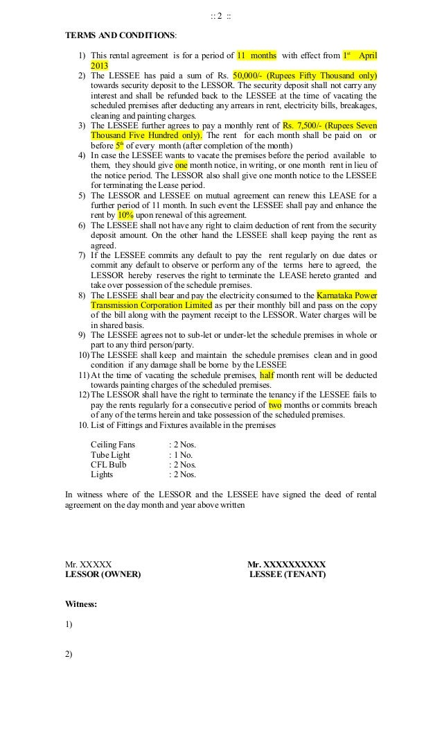 Standard Rental Agreement Form
