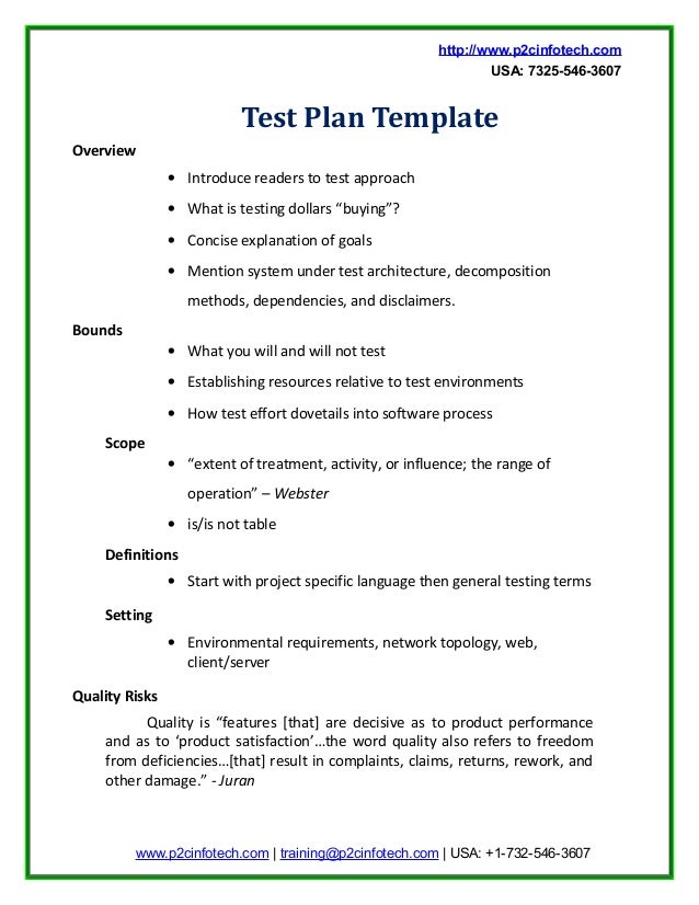 Good Sample Test Plan Doc. Http://www.p2cinfotech.com USA: 7325 546 3607 ...  Example Test Plan