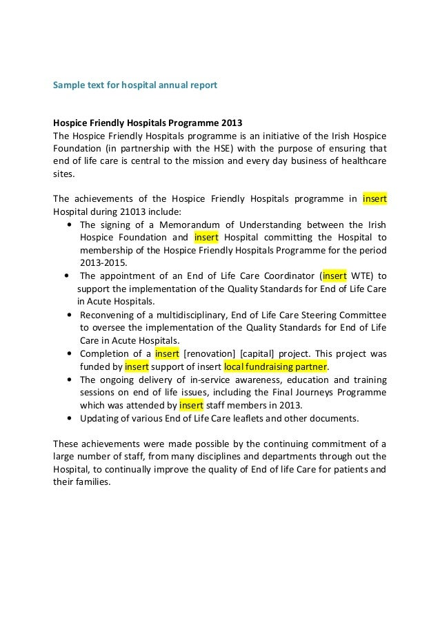 Sample Text for Hospital Annual Report From Acute Hospital Network M – Sample Annual Report