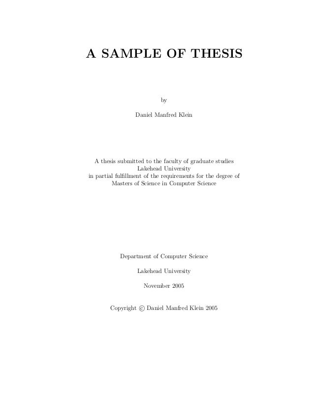 Thesis Introduction Sample Computer Science