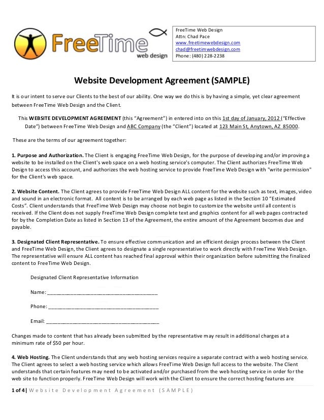 Sample Website Development Agreement. FreeTime Web Design ... Installed ...