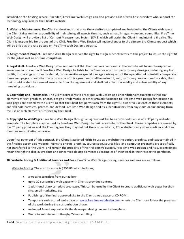 Sample website development agreement 2 installed platinumwayz