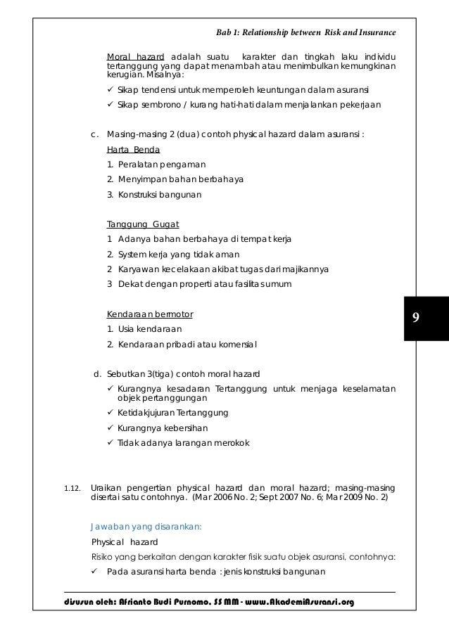 disusun oleh: Afrianto Budi Purnomo, SS MM - www.AkademiAsuransi.org 9 Bab 1: Relationship between Risk and Insurance Mora...