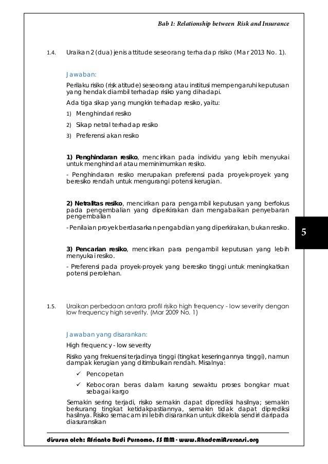 disusun oleh: Afrianto Budi Purnomo, SS MM - www.AkademiAsuransi.org 5 Bab 1: Relationship between Risk and Insurance 1.4....