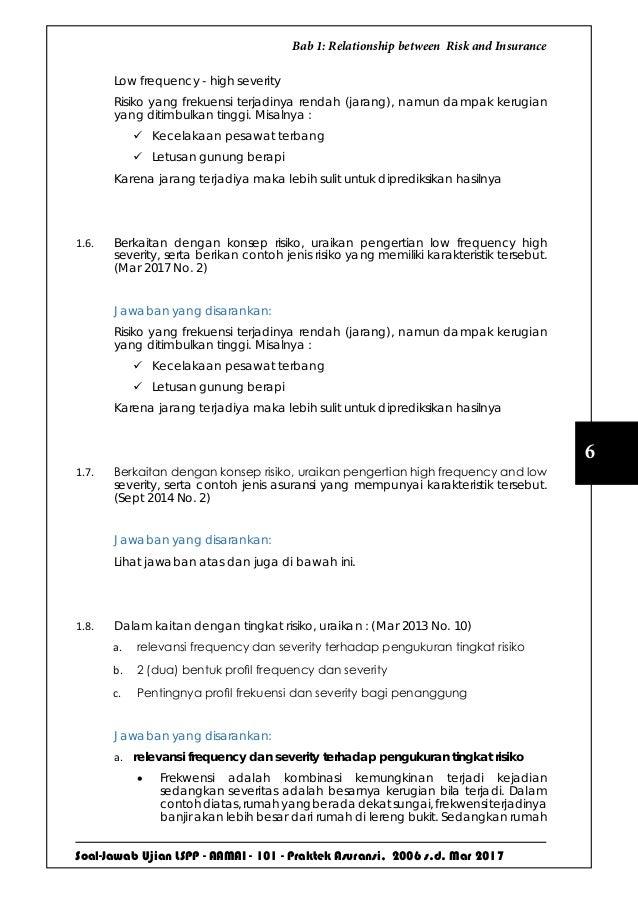 Soal-Jawab Ujian LSPP - AAMAI - 101 - Praktek Asuransi, 2006 s.d. Mar 2017 6 Bab 1: Relationship between Risk and Insuranc...