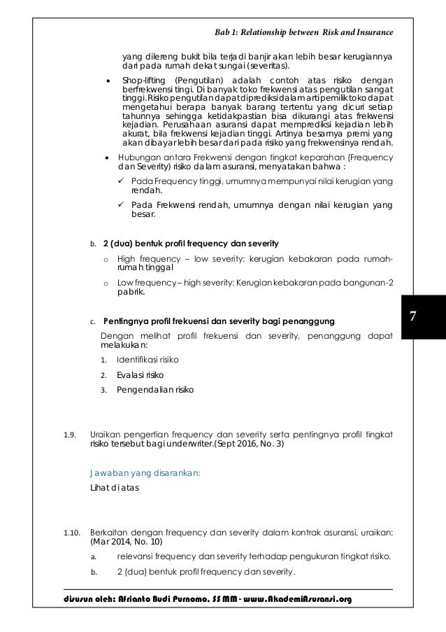 disusun oleh: Afrianto Budi Purnomo, SS MM - www.AkademiAsuransi.org 7 Bab 1: Relationship between Risk and Insurance yang...