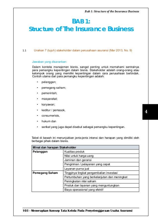 103 - Menerapkan Konsep Tata Kelola Pada Penyelenggaraan Usaha Asuransi 4 Bab 1: Structure of the Insurance Business BAB 1...