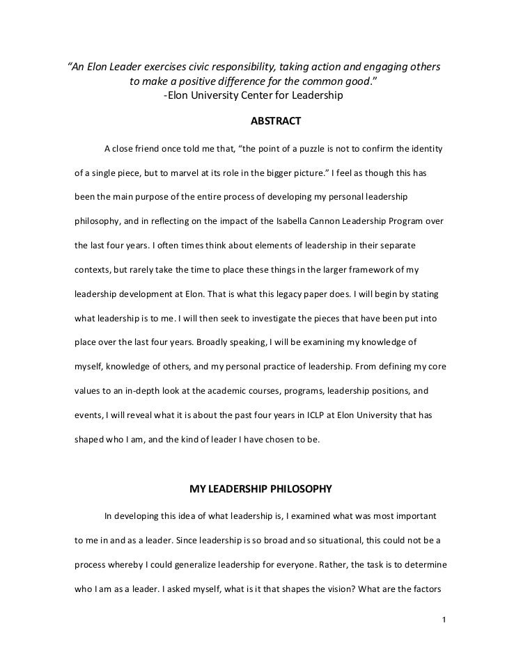 Leadership philosophy essay
