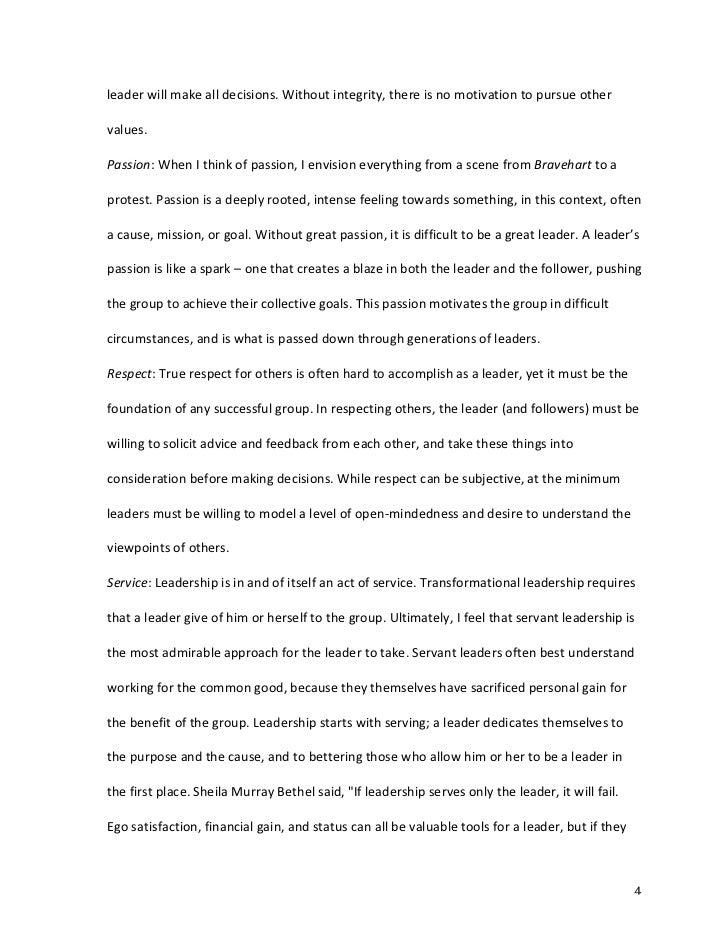 Personal leadership philosophy essay