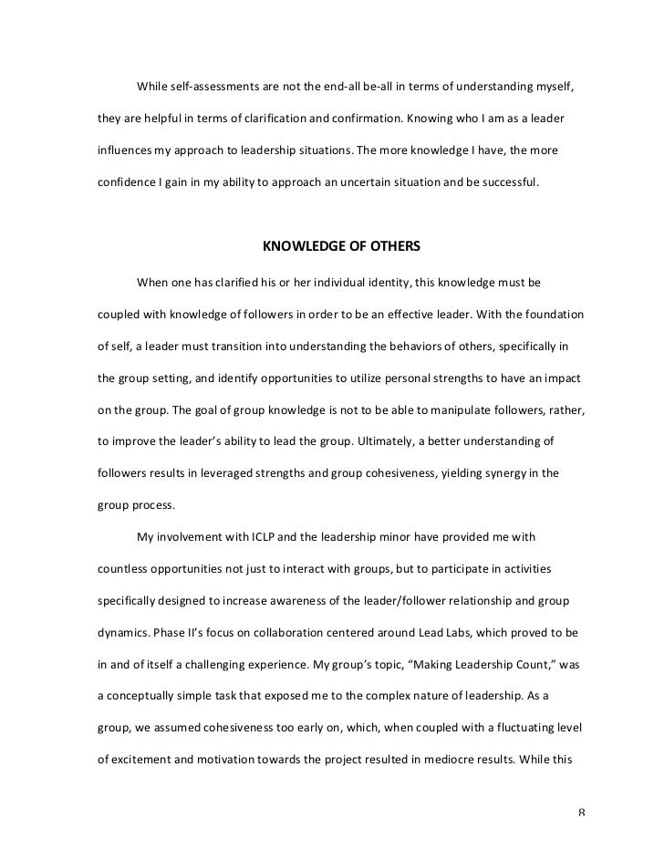 Self reflection paper about my group work