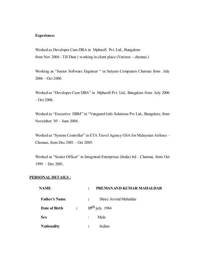 Foxpro resume