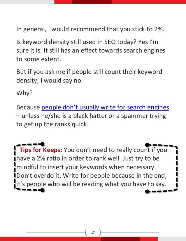 In general, I would recommend that you stick to 2%.Is keyword density still used in SEO today? Yes I'msure it is. It still...