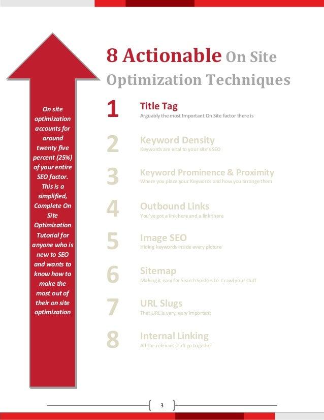 8 Actionable On Site                 Optimization Techniques     On site optimization                 1   Title Tag       ...