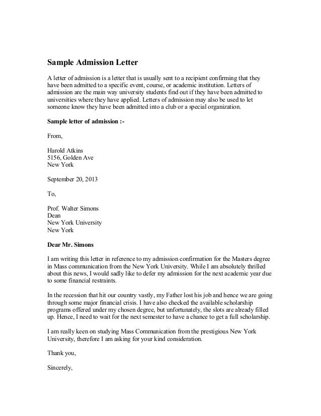 Sample Admission Letter