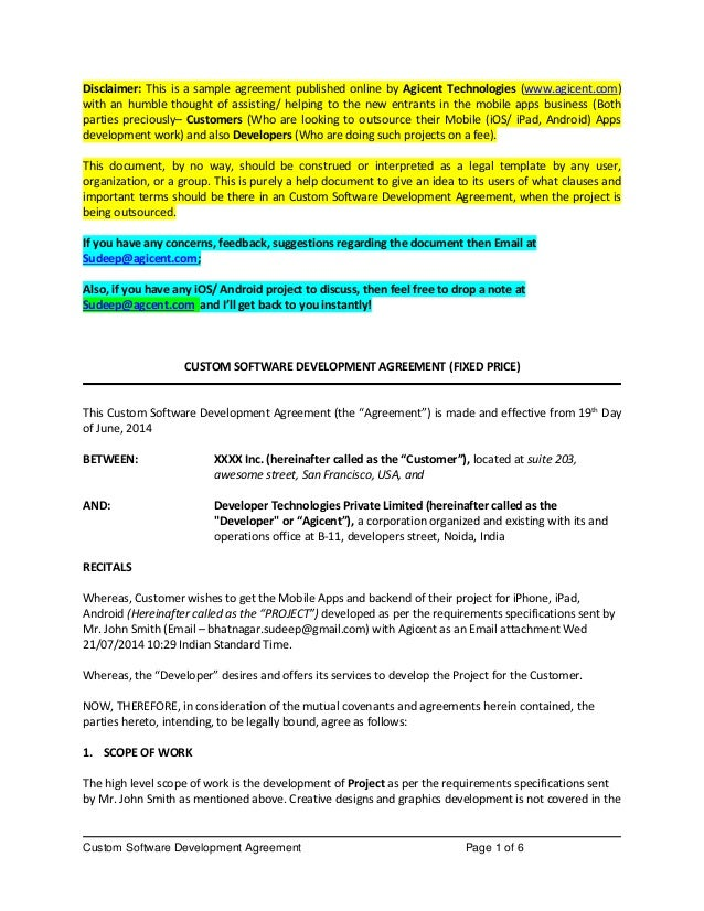 Custom Software Development Agreement Page 1 Of 6 Disclaimer: This Is A Sample  Agreement Published ...