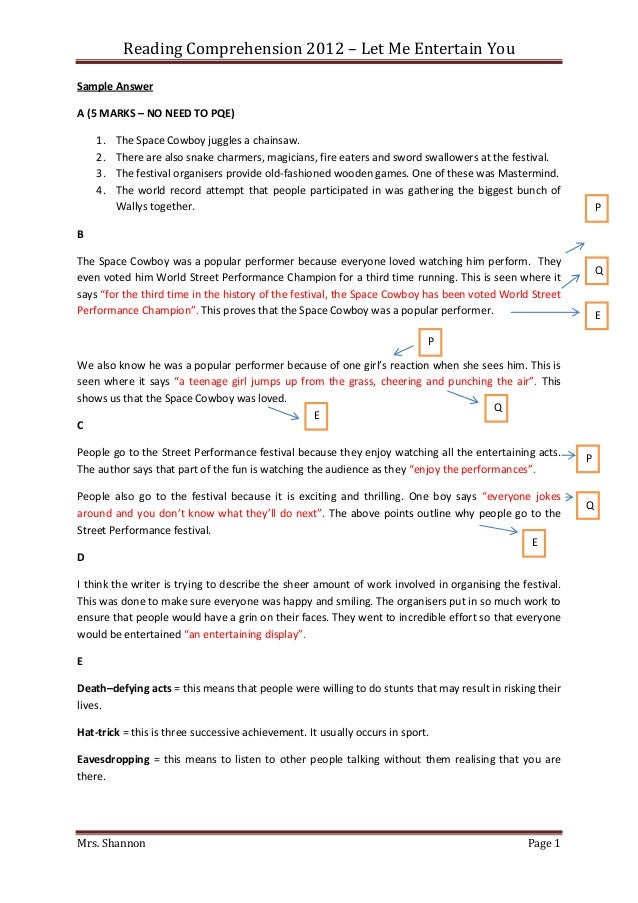 Reading Comprehension 2012 – Let Me Entertain YouSample AnswerA (5 MARKS – NO NEED TO PQE)    1.   The Space Cowboy juggle...