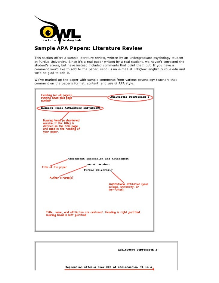 Sample APA Papers: Literature ReviewThis section offers a sample literature review, written by an undergraduate psychology...