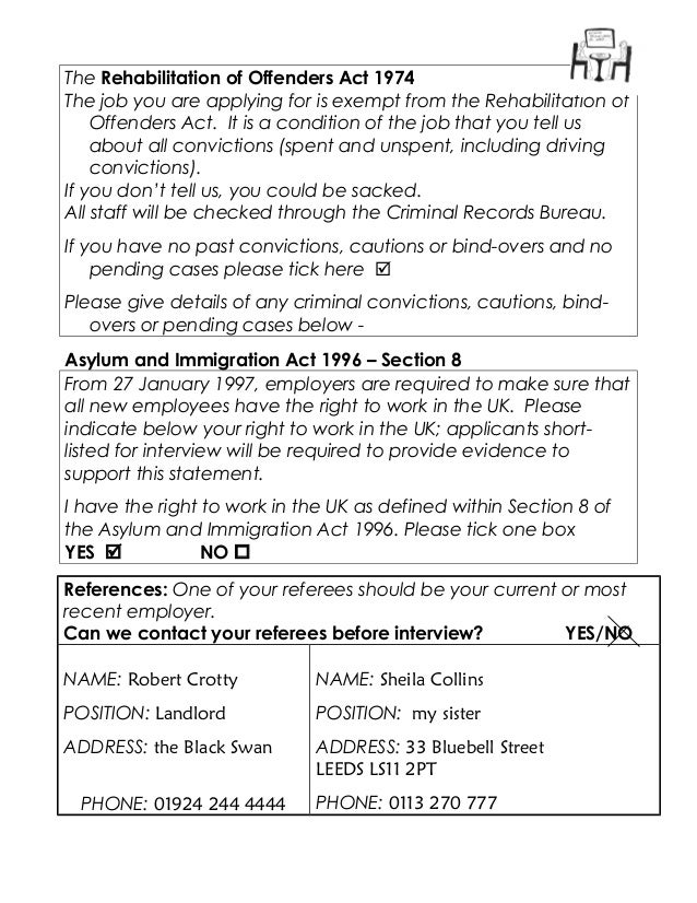 Sample Application Form Good