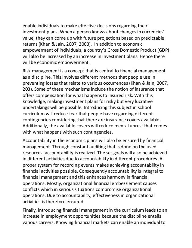 sample argumentative essay on financial education and management curr knowing economic conditions properly will therefore 2