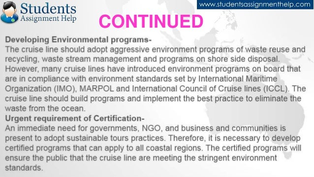 impacts of cruising essay Environmentally sustainable cruise tourism: a  the environmental impacts of cruise tourism are categorised in this  discussions of cruising in the .