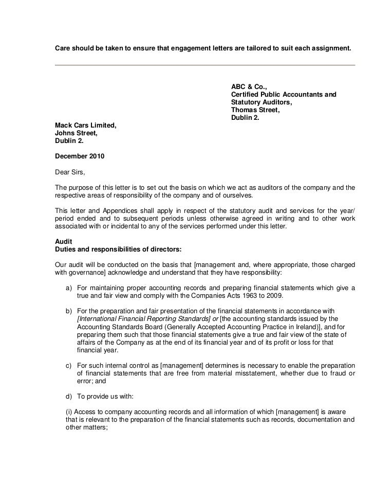 tax engagement letter template - sample audit engagement letter final2 jan 2011
