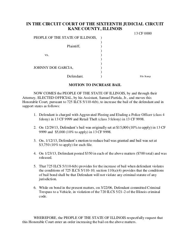 Sample Bail Bond Related Criminal Law Motions