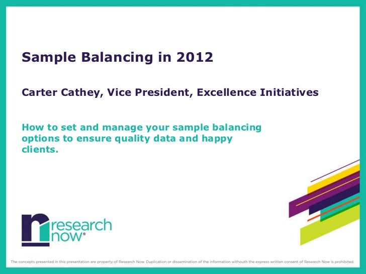 Sample Balancing in 2012Carter Cathey, Vice President, Excellence InitiativesHow to set and manage your sample balancingop...