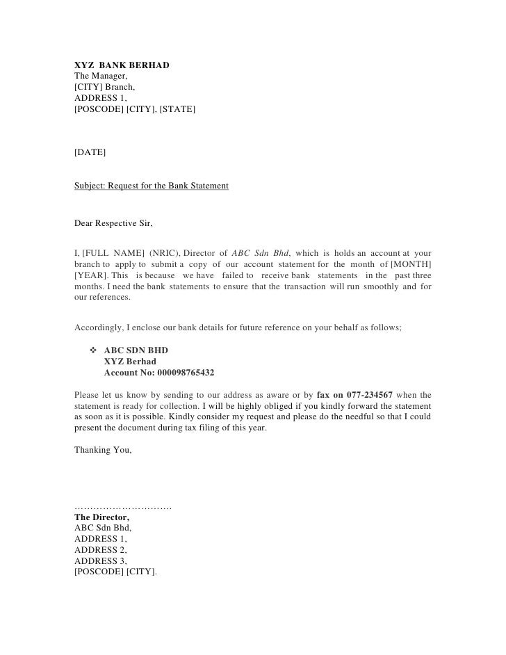 Sample bank letter
