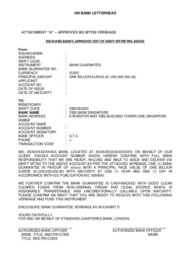 DEUTSCHE BANK VERBIAGE SAMPLE SWIFT MT760 & MT799