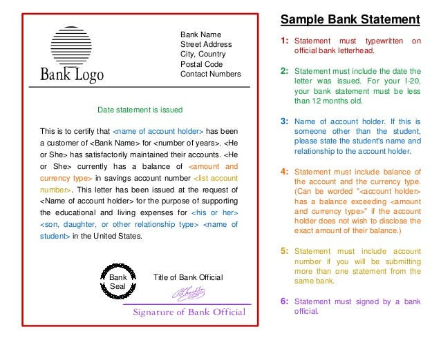 Sample Bank Statement Template To Study In Usa