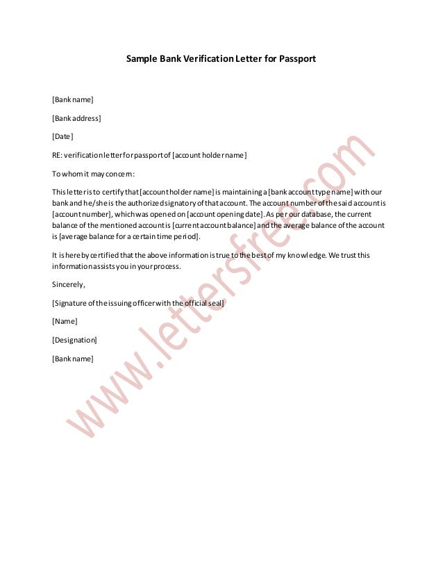 Sample bank verification letter for passport sample bank verification letter for passport bankname bankaddress date re thecheapjerseys Gallery