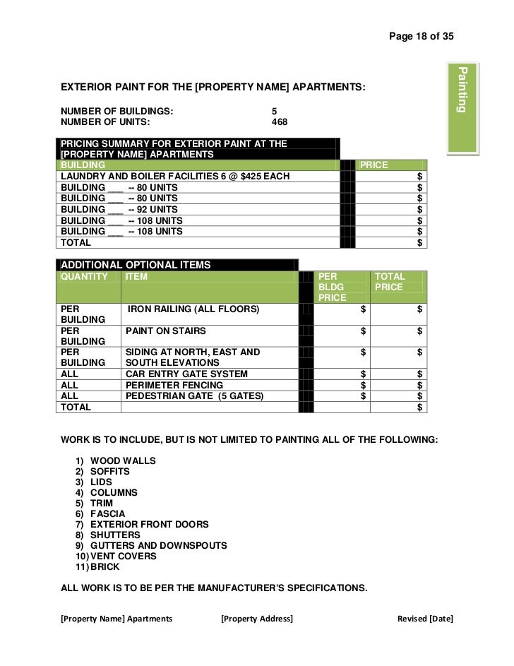 Outstanding Sample Bid Proposal Template Frieze Administrative - Painting bid template