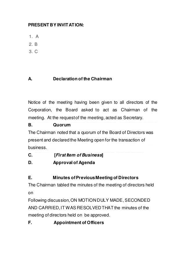 Sample Board Minutes
