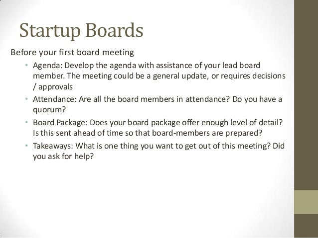 Sample board package for First board meeting agenda template