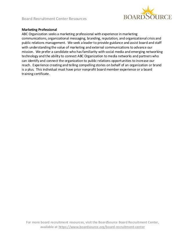 Volunteer Board Member (marketing expertise) Slide 3