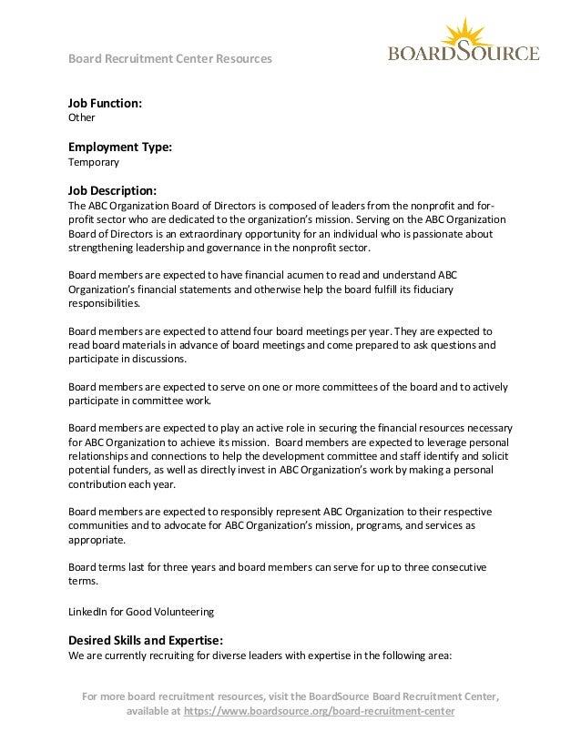 Board Recruitment Center Resources Job Function: Other  Employment Type: Temporary  Job Description:  The ABC Organization...